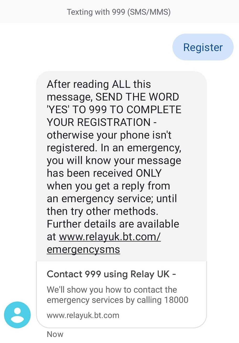 Text REGISTER to 999
