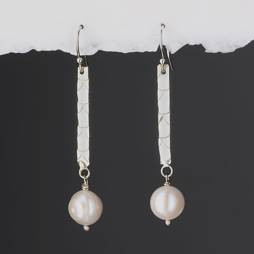 Scale and Cream Fresh Water Pearl Long Drop Earrings