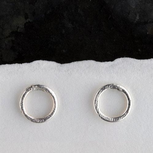 Silver Circular Textured Stud Earrings