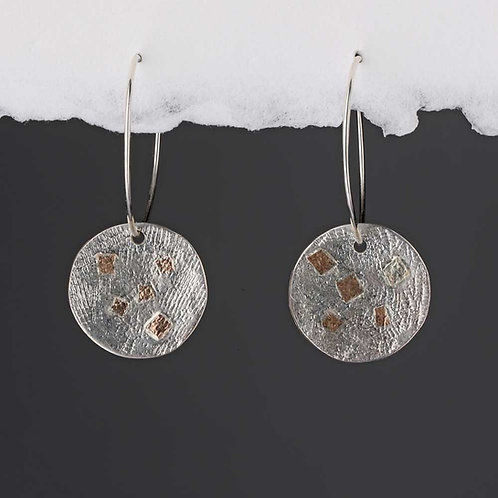 Silver & Gold Textured Hoop Earrings