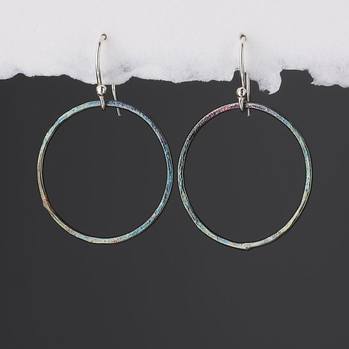 Oxidised Textured Circle on Hook Earrings
