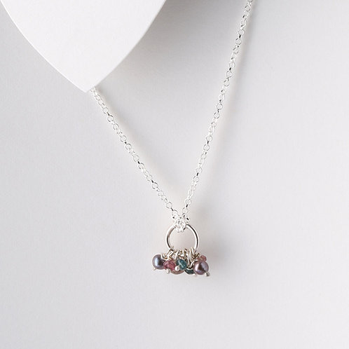 Fresh Water Pearl and Watermelon Tourmaline Cluster Necklace