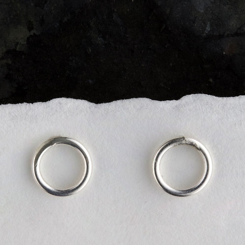 Silver Circular Plain Stud Earrings