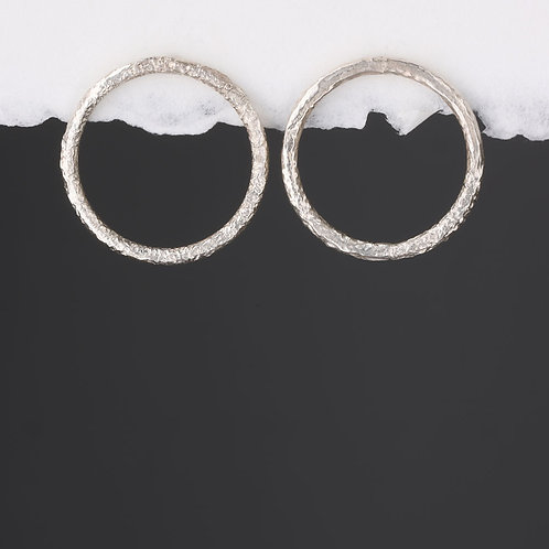 Silver Chunky Reticulated Open Circle Stud Earrings