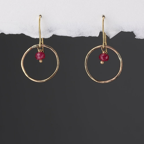 9ct Yellow Gold Halo Hook with Ruby Earring