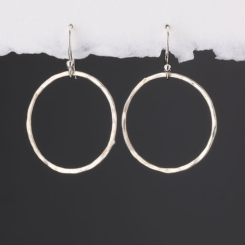 Hammered Silver Circle on Hook Earrings