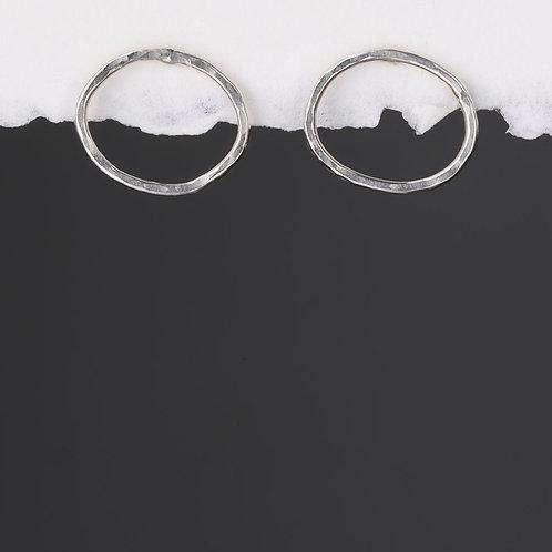 Open Oval Hammered Silver Stud Earrings