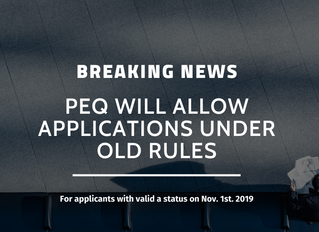 BREAKING NEWS: PEQ will allow applications under old rules for certain candidates