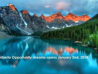New Alberta Opportunity Stream Opens January 2018.