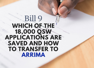 Bill 9: Which of the 18,000 applications are saved and how to transfer to ARRIMA