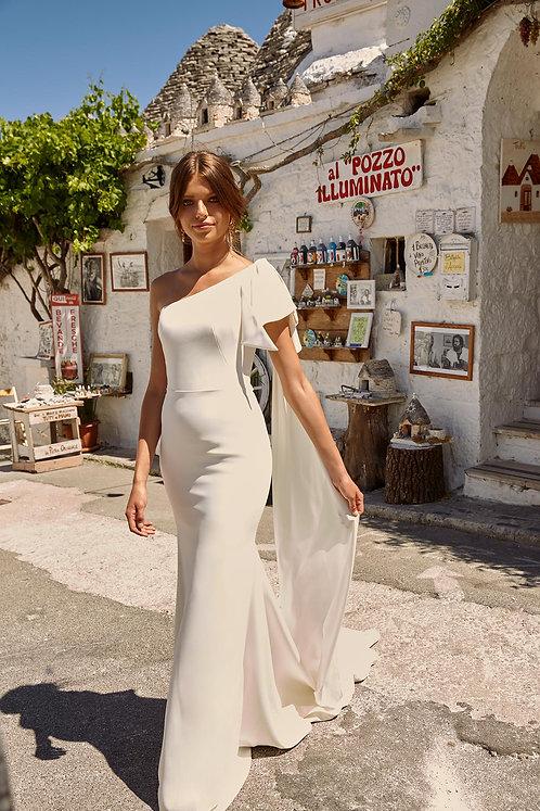 Maddox Madi Lane Bridal Studio One Shoulder Bow Sheath