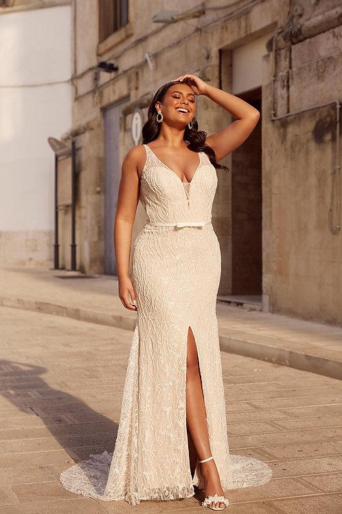 Milan Madi Lane Bridal Studio V Neck Lace Split