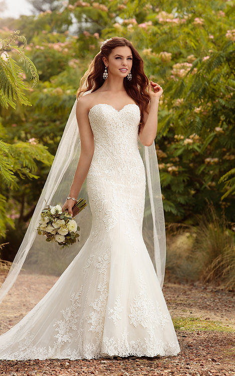 Gabriella Essense Bridal Gown Strapless Mermaid Vertical Beading Lace Front-Side