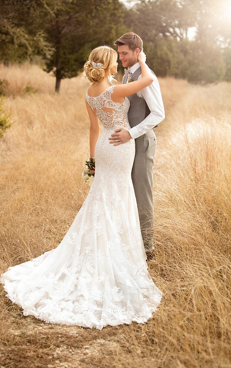 Kaya Essense Bridal Studio Gown Fit and Flare Lace Illusion Back Back Pose