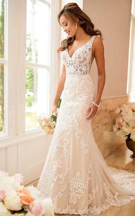 Betty Stella York Bridal Studio Gown Sheath Lace Illusion Vneck