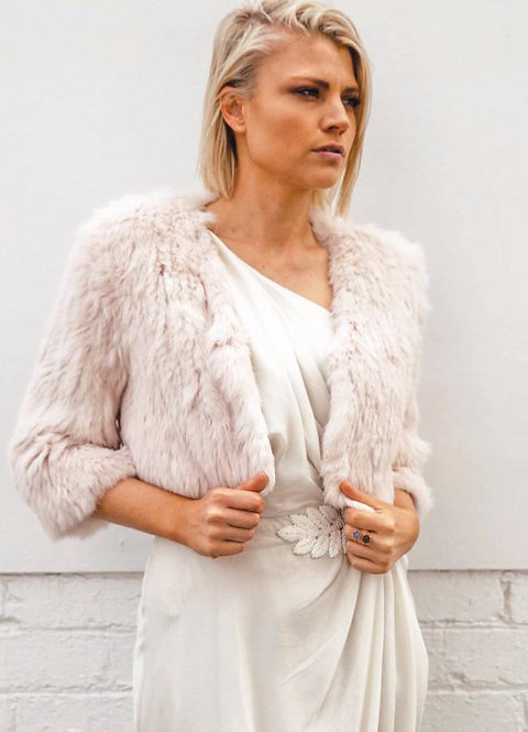 Laci Bridal Jacket Mode and Affaire Bridal Studio Fur Accessory
