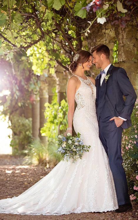 Harper Essense Bridal Gown High-Neck Crepe Open Back Lace Side Groom