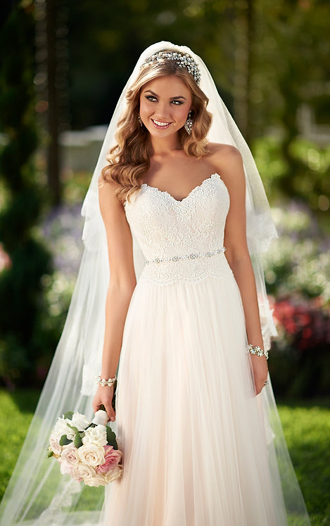 Peggie Stella York Bridal Gown Sheath Lace Tulle Front