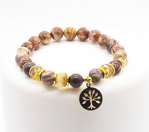 Birds Eye Jasper Tree of Life Bracelet