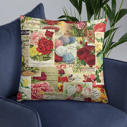 Vintage Garden Seed Packet Collage-Basic Pillow