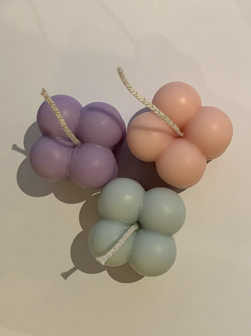 Pastel Trio of mini bubble candles