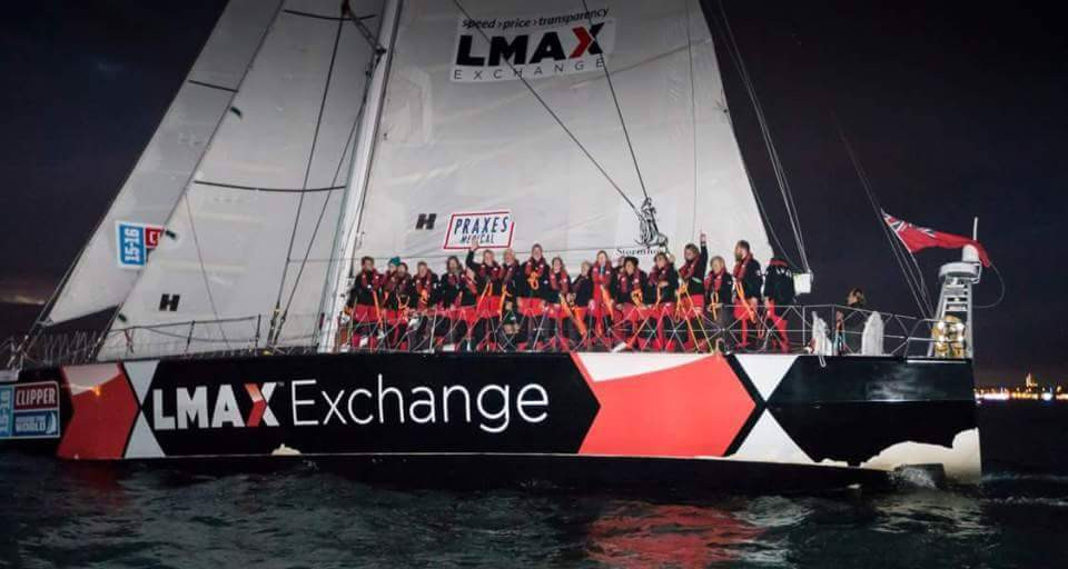 LMAX Exchange winning the 205/16 Clipper Round the World Yacht Race by crossing the finishing line at Southend Pier