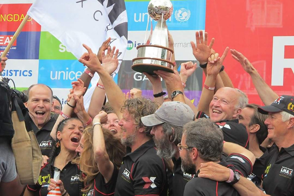 LMAX Exchange crew members celebrating the win of the 2015/16 Clipper Round the World Yacht Race