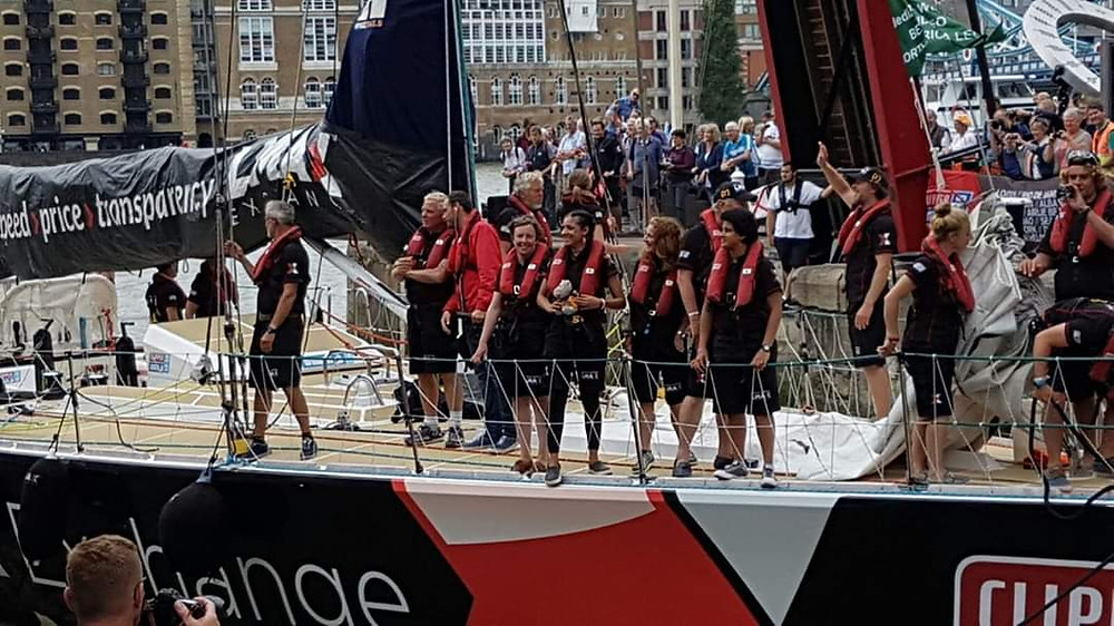 LMAX Exchange arriving back into St Kats Dock London at the end of the 2015/16 Clipper Round the World Yacht Race