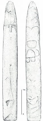 Dibujo de las caras frontal y dorsal de