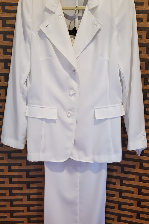 White Pant Suit with Wide Pants
