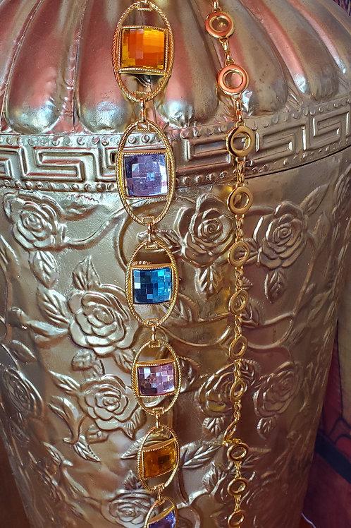 Multi-Colored Jeweled Gold chain Belt / Size Medium