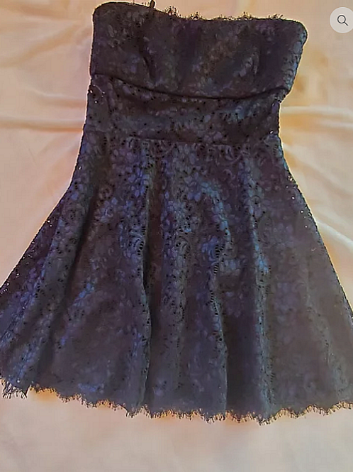 Black with blue shimmer lace dress.