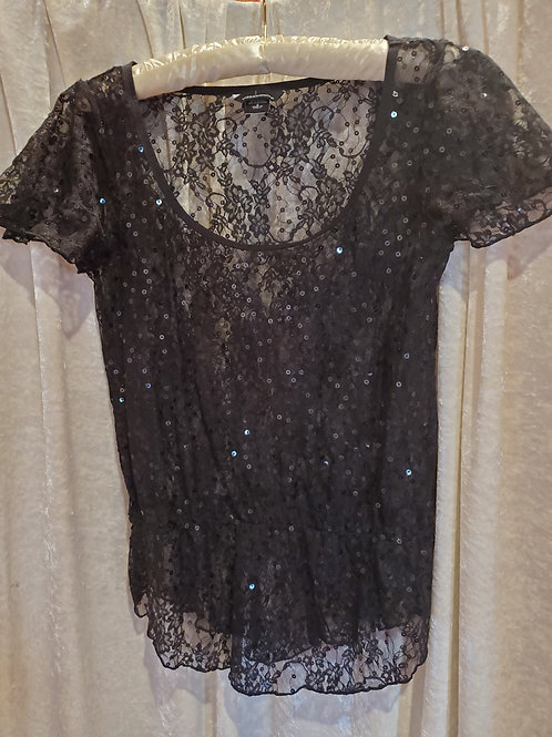 Glittery Black Lace Blouse