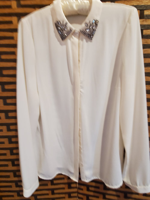 Ivory Blouse with Jewel Collar