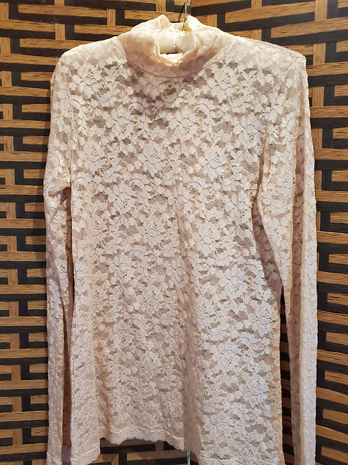Pink Glittery Pure Lace Turtleneck Long Sleeve Blouse