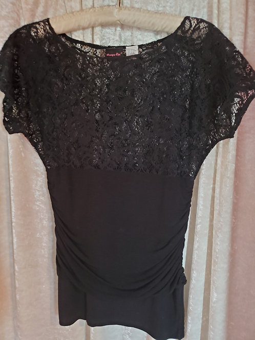 Black Upper Lace Ruched Blouse