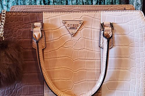 Guess Genuine Tan & Brown Leather Satchel