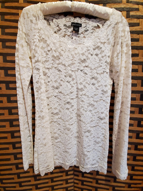 White Pure Lace Long Sleeve Blouse