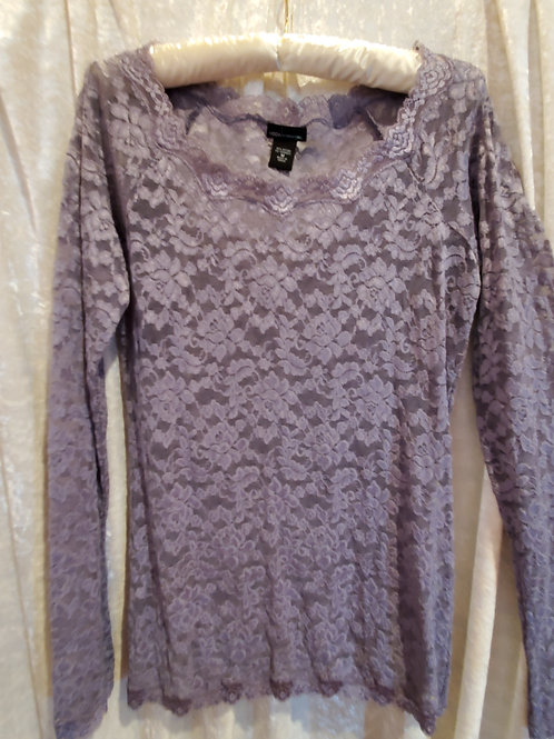 Pale Grey Pure Lace Sheer Long Sleeve Blouse