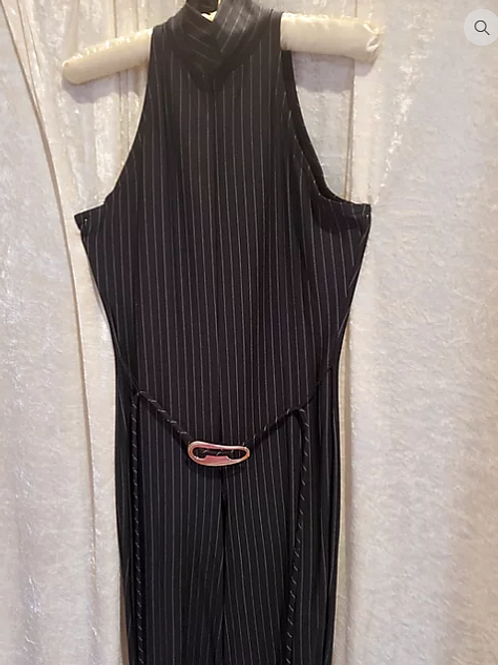Pinstripe Jumpsuit with Belt