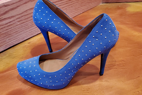 Colin Stuart Blue Suede 4 Inch High Heels with Bling / Size 8