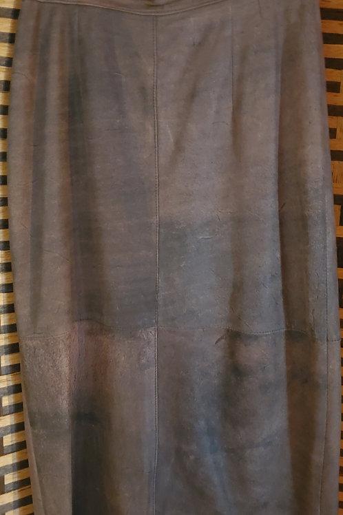 Brown Rustic Leather Maxi Skirt