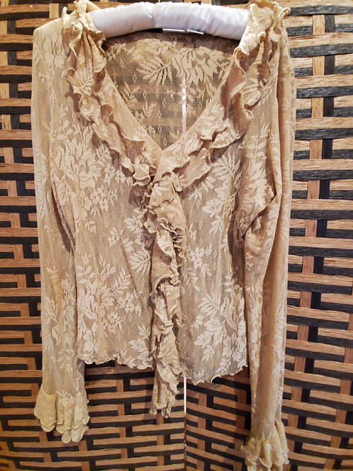 Pure Light Gold Lace with Ruffles Blouse