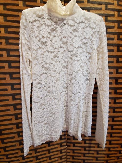 White Pure Lace Long Sleeve Turtleneck Blouse