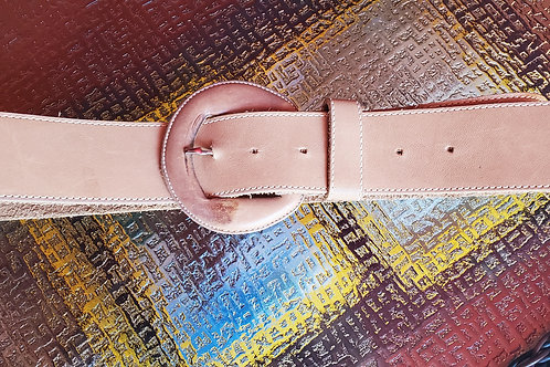 Genuine Tan Leather Belt / Size Medium