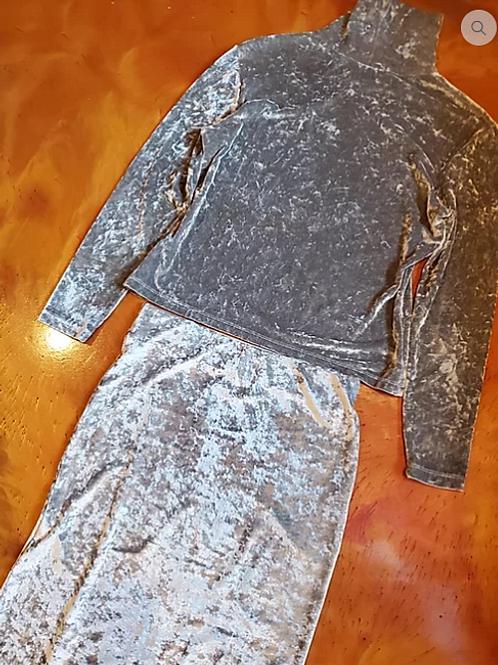 Silver Gray Velvet Long Skirt & Turtle Neck Top.