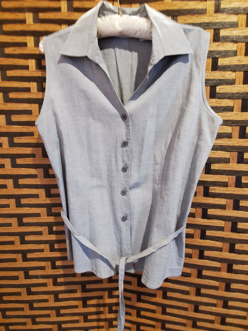 Grey Sleeveless Blouse with Tie.