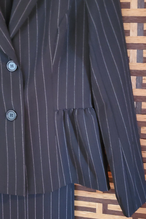 Navy Blue White Pinstripe Pants Suit