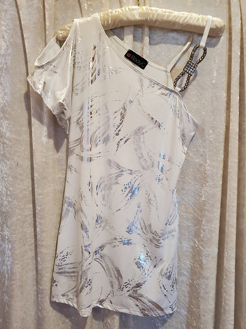 White Silver Print Top with Jewel Strap