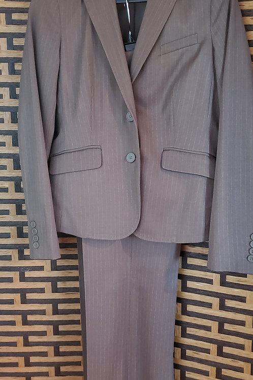Grey White Pinstripe Pant Suit
